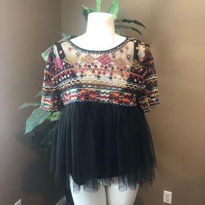Size medium Zara ethnic boho top with beads nwt